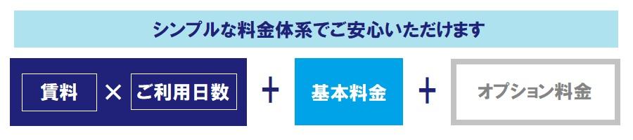 賃料×ご利用日数+基本料金 +オプション料金